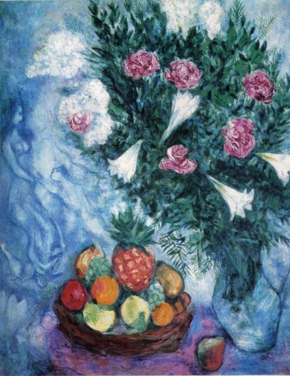 Marc Chagall. Frutas y flores, 1929. óleo sobre lienzo. Colección privada. WikiPaintings.org - the encyclopedia of painting