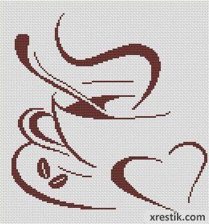 Kofe----7300 Схема для вышивки scheme for cross stitch