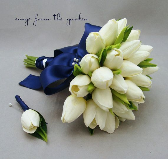 Image result for white tulip bouquet with dark blue tulle