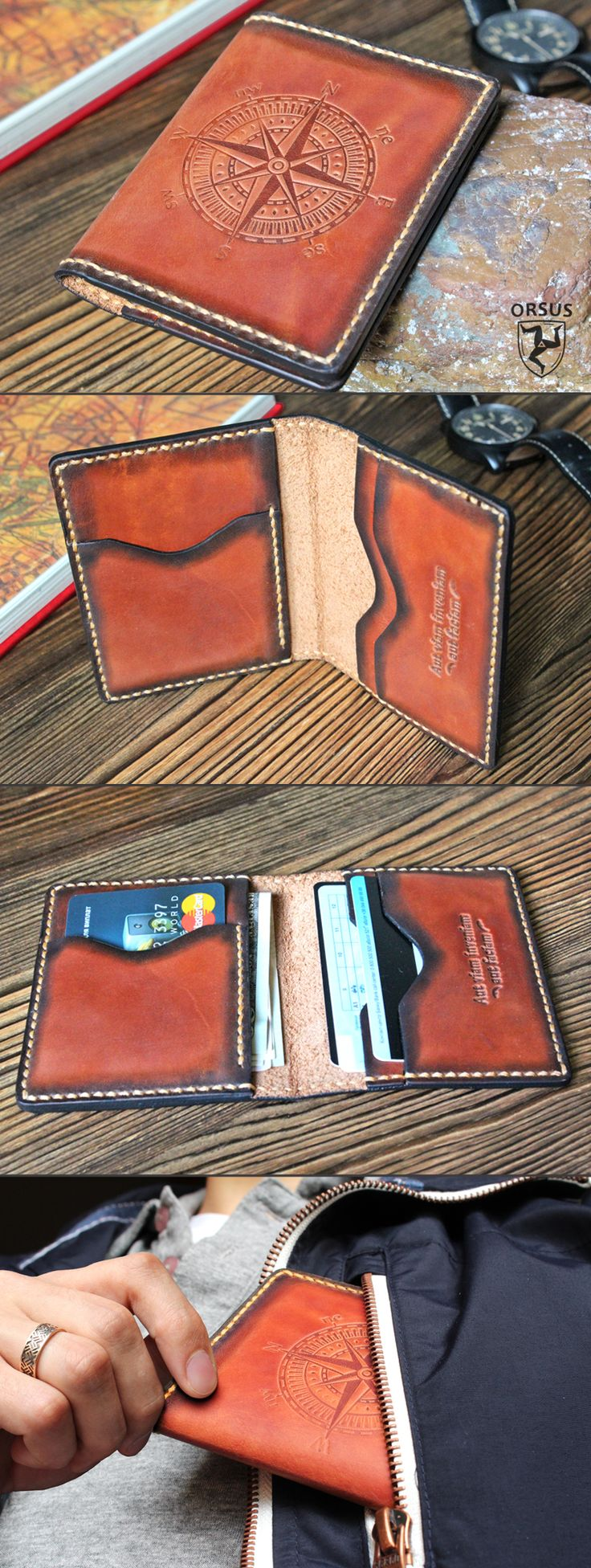 Leather card holder, personalized gift for him, christmas gift for husband, gift for man; hand stitched leather wallet; slim mens wallet, minimalist wallet
