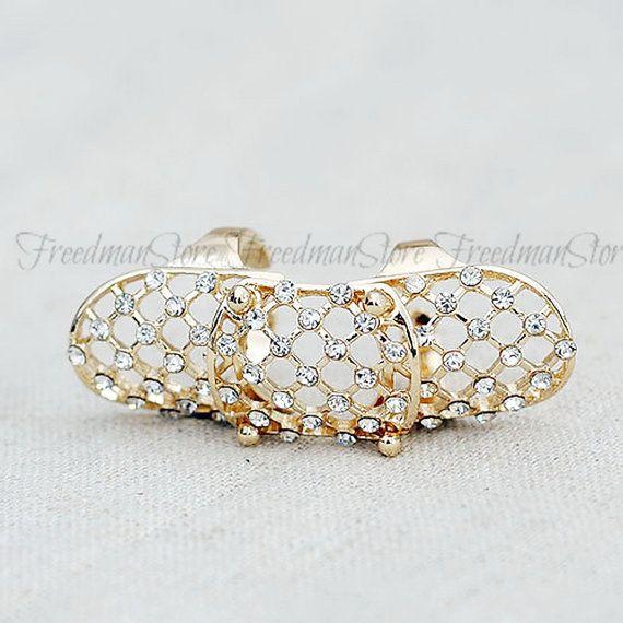 Rhinestone gold tone armor ring filigree knuckle by FreedmanStore