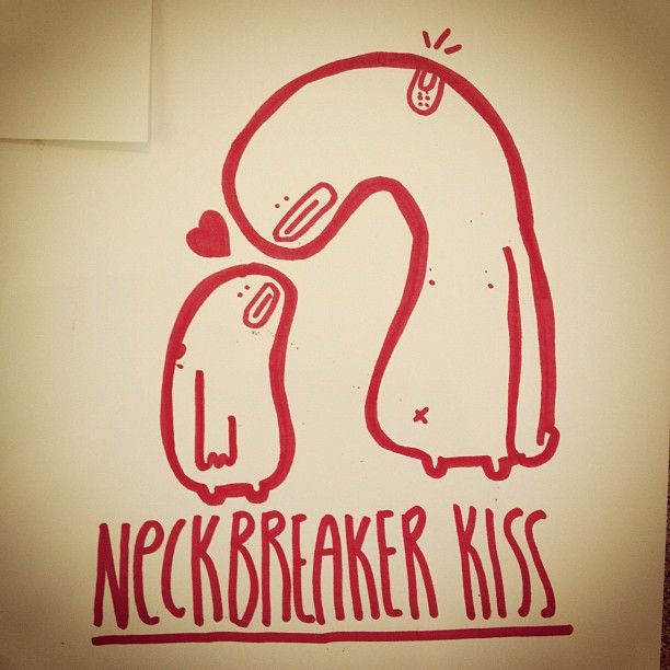 The classic neck breaker kiss.