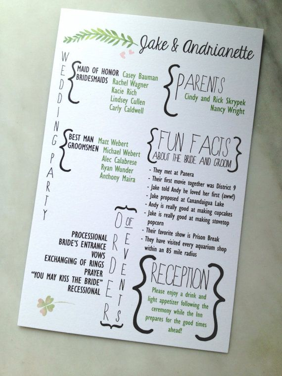 Printable Fun Facts Forest Foliage Watercolor Wedding Program on Etsy, $20.00