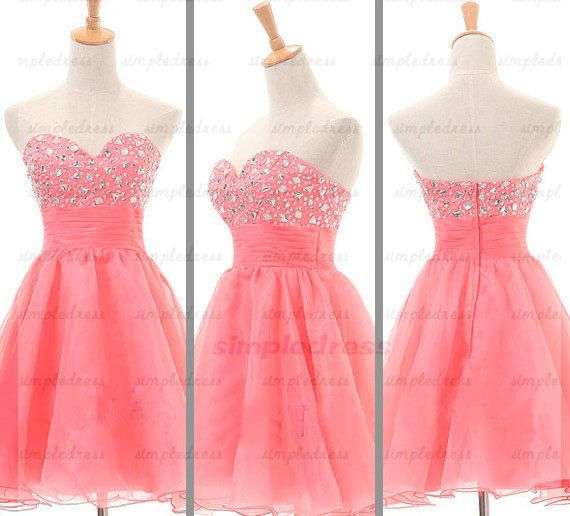 coral prom dress formal evening dress short party by Simpledress