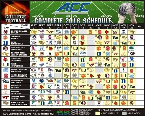 2016 Boston College Eagles, Clemson Tigers +ALL - Large Football Schedule Magnet…