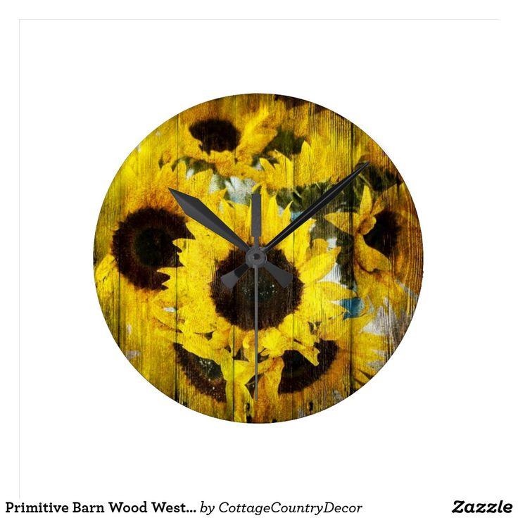 Primitive Barn Wood Western Country Sunflower Round Clock
