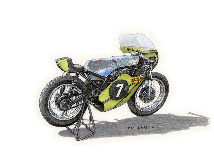 """1973 Maico 125 Grand Prix motorcycle Sketched at the Sywell Classic Pistons & Props. Nice authentic factory Grand Prix race bike. It has a unique engine-turned hand-made aluminum fuel tank.  Pencil, pen&ink, markers and Jack Daniels Honey Whiskey on 12""""x 9"""" watercolour paper. © Paul Chenard 2015  Original art available, as are limited editions."""