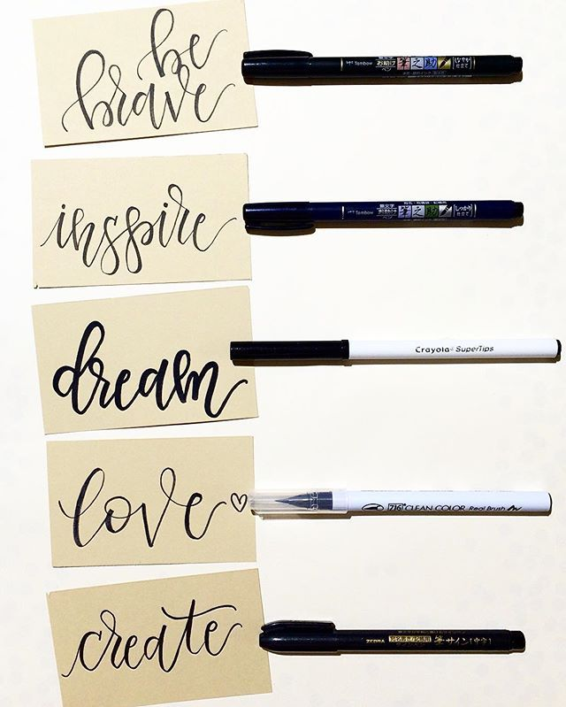 #Positivevibes everyday! Comparing different brush pens and of course, I had to throw in a Crayola SuperTip to the mix! I used the following- Tombow Soft tip, Tombow Hard tip, Crayola SuperTip, Zig Kuretake Real Brush pen & Zebra brush pen! #lettersbyshells