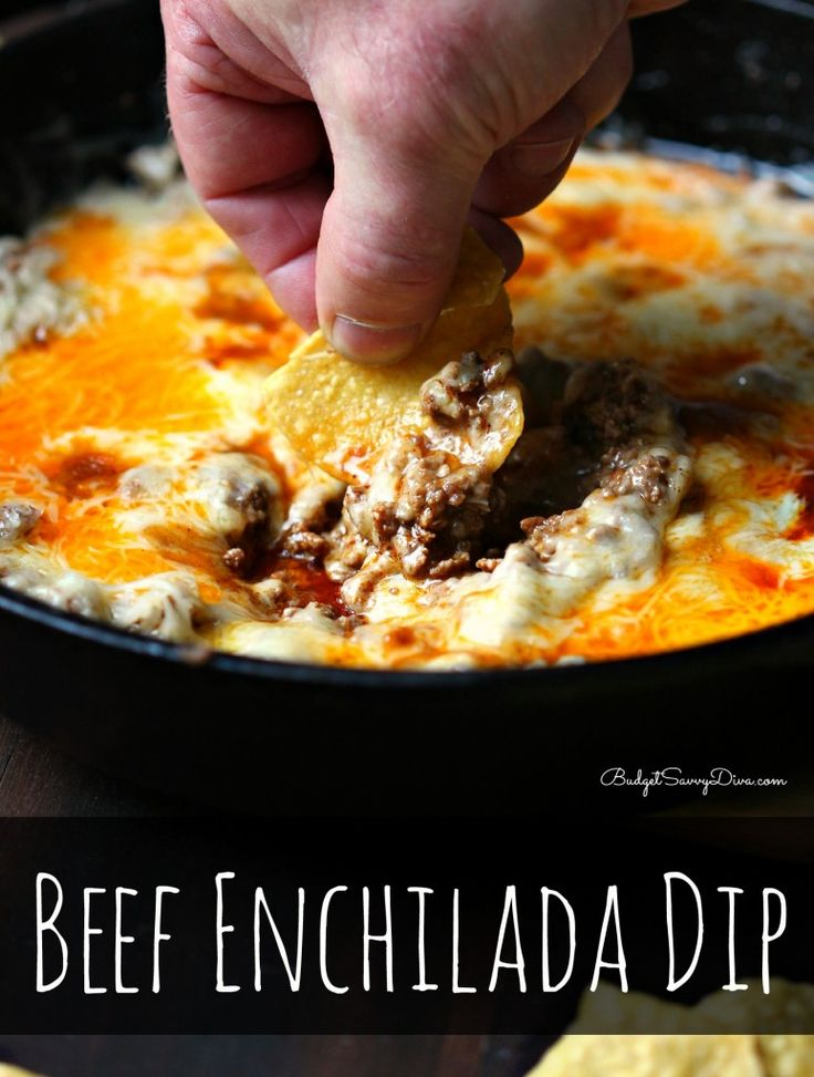 I'd eat that. Beef Enchilada Dip - up the onion a little, do half turkey/ground beef & cook onion & garlic with the meat to skip the olive oil