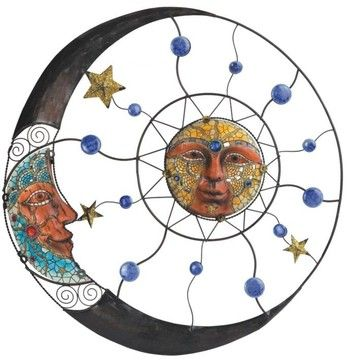 Mosaic Moon, Sun and Stars Art Wall Plaque eclectic-wall-decals