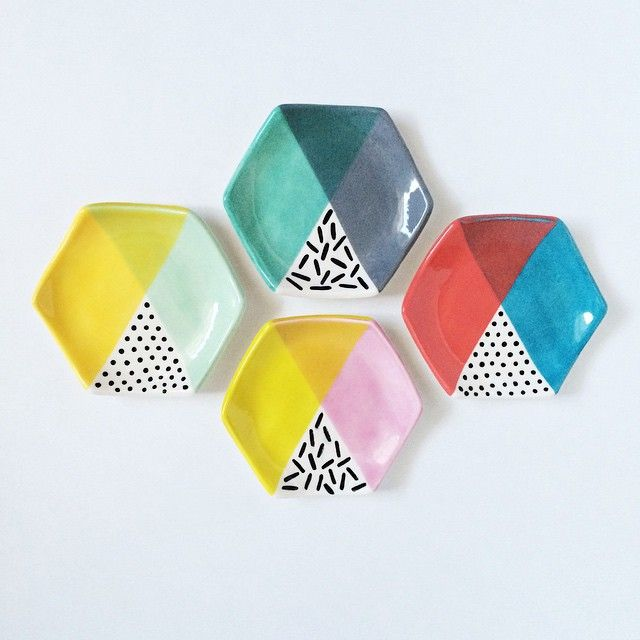 Ring dishes by Quiet Clementine:  I made more color blocked hexagons in the bigger ring dish size and I love them! #quietclementine