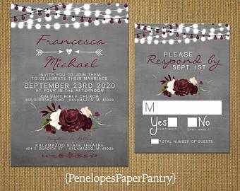 Rustic Summer Wedding InvitationBurgundy RosesBlush