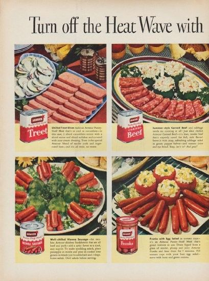 """Description: 1951 ARMOUR MEATS vintage print advertisement """"Turn off the Heat Wave"""" -- Turn off the Heat Wave with these Armour Pantry-Shelf Meals ... Serve Cool Kitchen Time-Savers ... * Treet * Beef * Vienna Sausage * Franks * Ham * Deviled Ham * -- Size: The dimensions of each page of the two-page advertisement are approximately 10.5 inches x 14 inches (27 cm x 36 cm). Condition: This original vintage two-page advertisement is in Very Good Condition unless otherwise noted."""