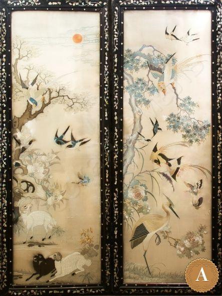 Парные вышивки с изображением птиц в деревянных рамах, инкрустированных перламутром