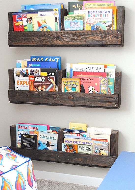 Make DIY shelves and holders for all of your books. Our DIY project ideas include fast and simple weekend projects such as building shelves out of reclaimed wood and using old gym wire baskets for bookshelves.