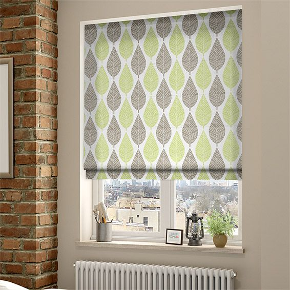 Winter Leaf Spring Green Roman Blind from Blinds 2go