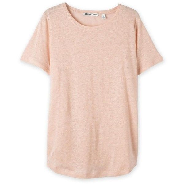 Linen T-Shirt found on Polyvore featuring tops, t-shirts, momma, linen t shirt, pink tee, linen tops, pink top and pink t shirt