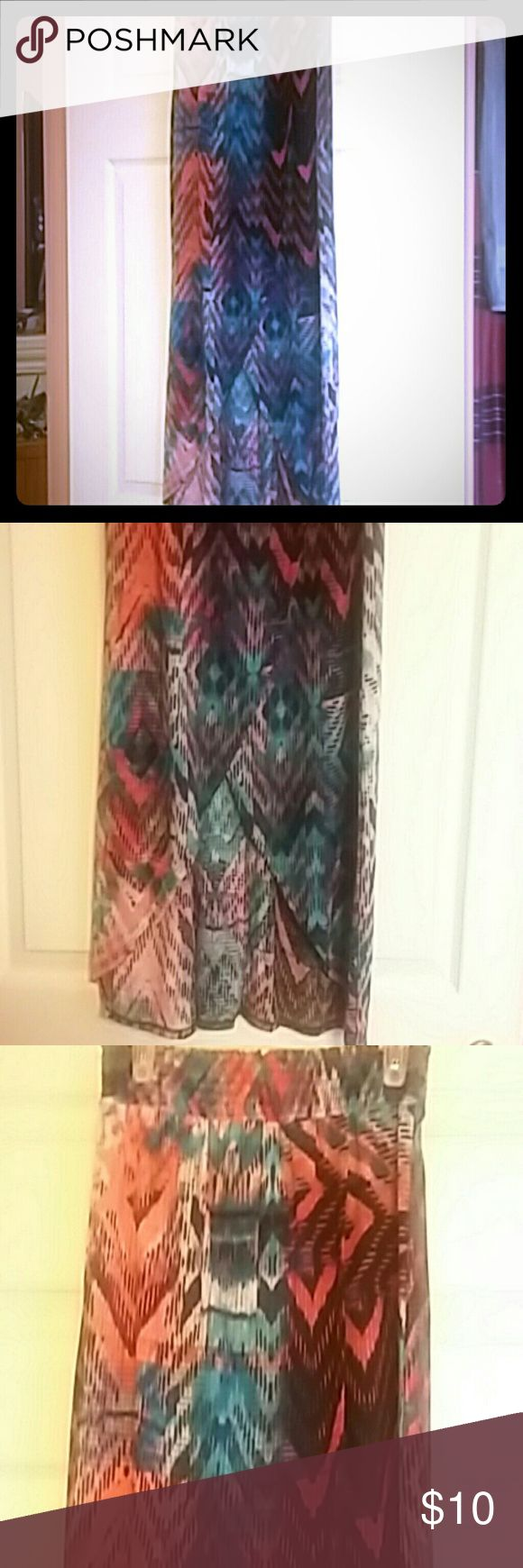 Cotton long skirt Skirt long brand new never worn, great over swimsuit or just for vacation very confy. Colors are fuchsia,  salmon  and black No Boundaries Skirts Pencil