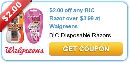 $2.00 off any BIC Razor over $3.99 at Walgreens