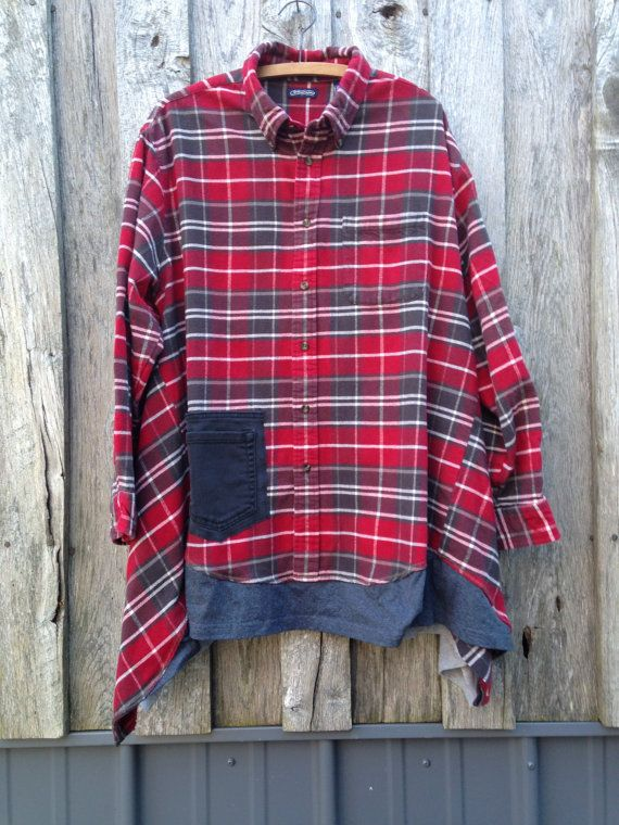 Red Flannel Funky Artsy Boho Dress Tunic Upcycled by FreeRangeRags