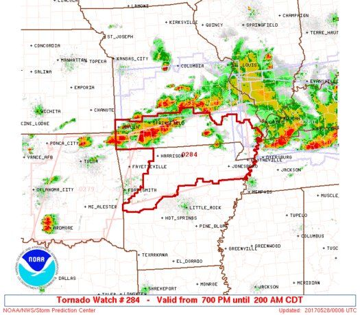Tornado & Severe Thunderstorm Watches continue this evening.  http://www.spc.noaa.gov/products/watch/ww0284.html …  |   http://www.spc.noaa.gov/products/watch/ww0283.html …  #mowxpic.twitter.com/ZEKsEBOpZm - https://blog.clairepeetz.com/tornado-severe-thunderstorm-watches-continue-this-evening-httpwww-spc-noaa-govproductswatchww0284-html-httpwww-spc-noaa-govproductswatchww0283-html/