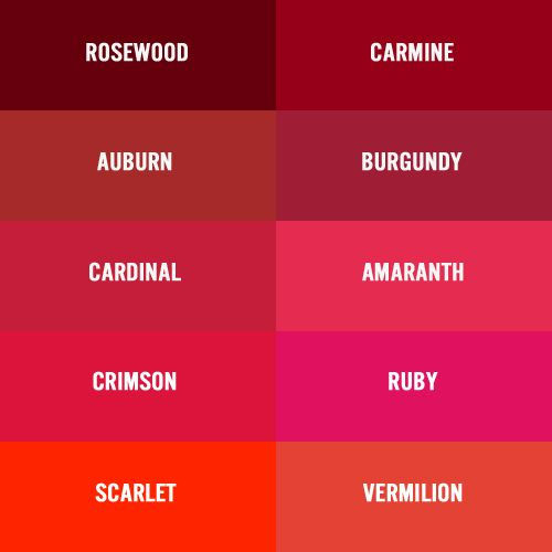 Shades Of Red there are several names for deep red burgundy wine maroon