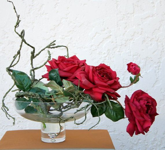 Contemporary silk floral arrangement realistc red roses