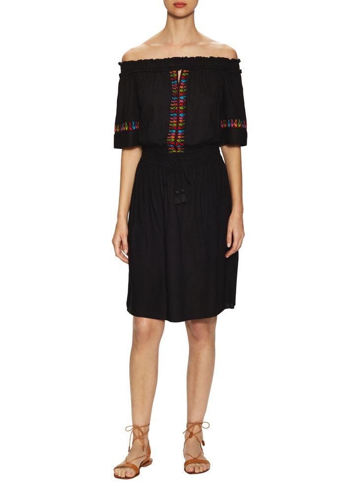 Marabelle Embroidered Off Shoulder Knee Length Dress