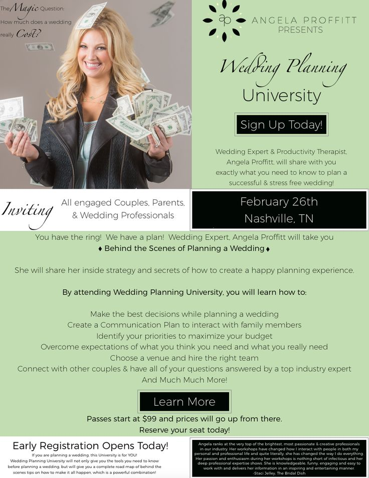 Getting engaged or married?  Join me in Nashville TN in February for Wedding Planning University!