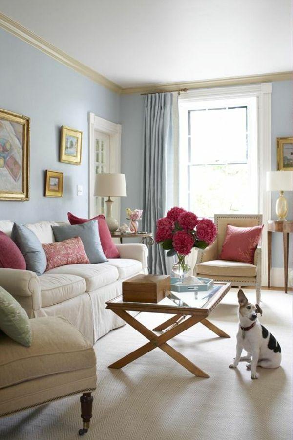 wandfarbe taubenblau - wandgestaltung ideen mit blauen farbtönen, Wohnzimmer dekoo