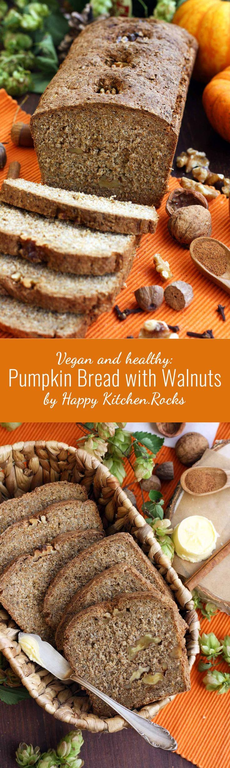 Easy and Healthy Pumpkin Bread recipe, made with whole grain flour, chia seeds, maple syrup, walnuts, beer and malt. Delicious, vegan and packed with nutrients!