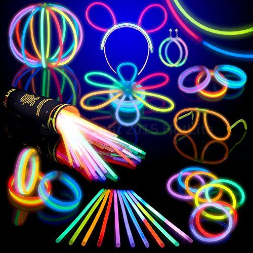 "For the Black Light Run - 8"" LumiStick Brand Glowsticks Glow Stick Bracelets Mixed Colors (Tube of 100)"