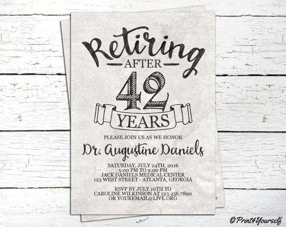 Elegant Retirement Invite // Personalized by Print4Yourself