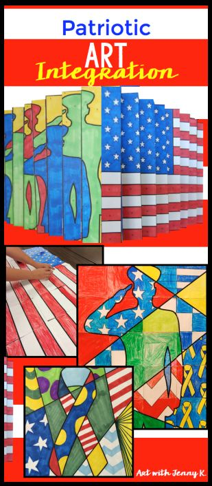Collection of great Memorial Day art activities for classroom teachers from Art with Jenny K. Easy for teachers, great fun for students!