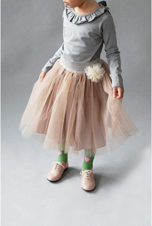 Ruffle collar girls' shirt and long tutu skirt   Wunway
