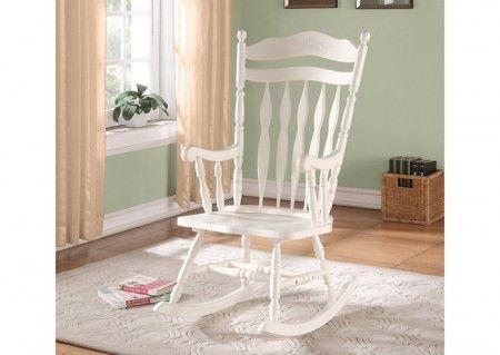 I 1525 chaise bercante dossier encavé bois massif blanc antique