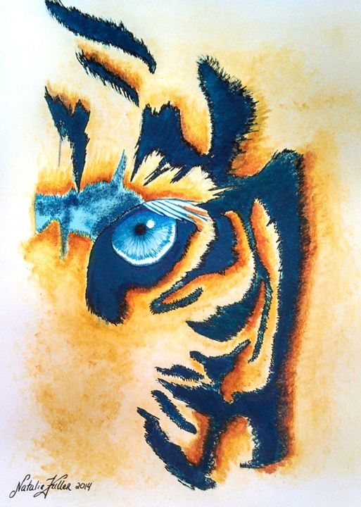 Teal Tiger Abstract Watercolor Natalie Fuller