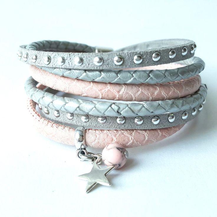 Ibiza wikkel armband grijs roze met ster en studs  17,95