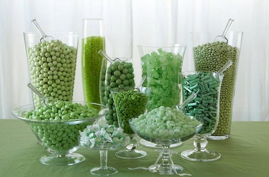 Not a fan of the green, but like the variety of containers and sweets in the same color.