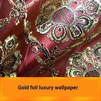 Vermelho da folha de Ouro de luxo papel de parede para sala de estar de fundo papel de parede para parede