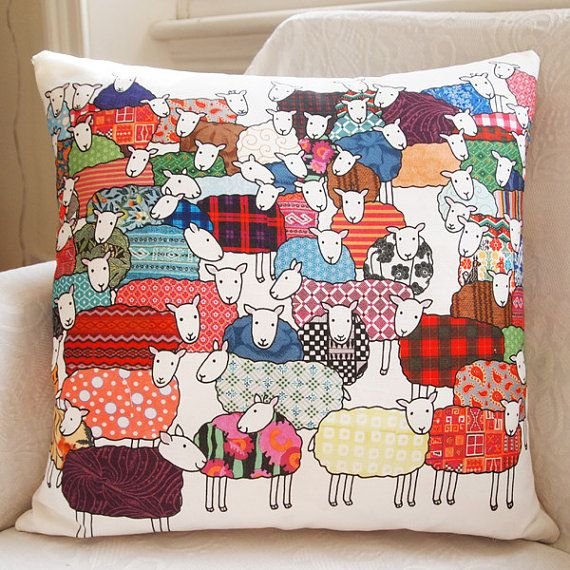 Colourful Sheep Cushion  Large by MaryKilvert on Etsy