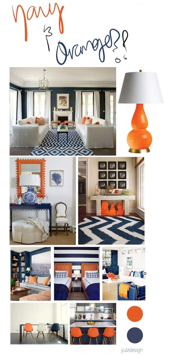 navy + Orange - I'm doing teal and orange, but I LOVE the execution!