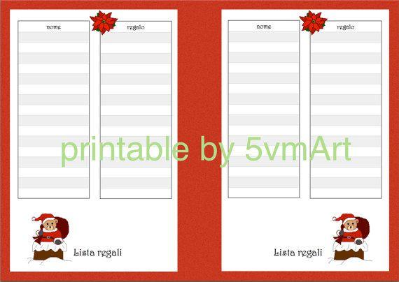 Printable Lista Regali Natale formato A5 di 5vmArt su Etsy