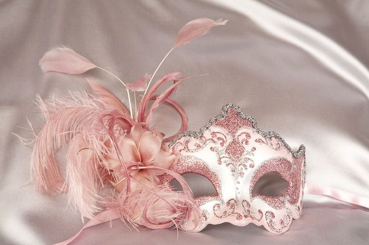 Venetian Masquerade Masks with Feathers and Stick - DANIELA SILVER