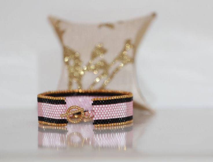 Bracelet manchette or noir et rose tissage peyote en perles de rocaille Miyuki 11/0 : Autres accessoires bijoux par pegase