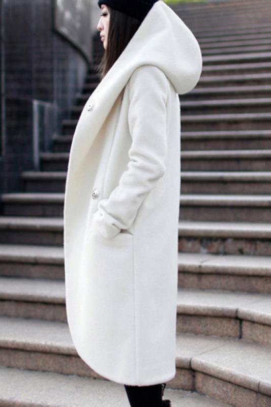 Plain Long Sleeve Hooded Tweed Winter Coat