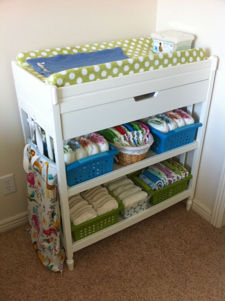 Awesome organization of cloth diaper changing table-some great ideas too!