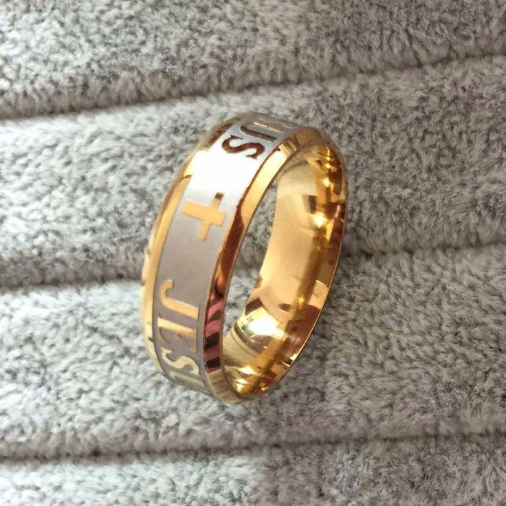 De moda niza color oro cruz de jesús del acero inoxidable 316L anillos para hombre y mujeres la joyería del acero inoxidable anillos simples