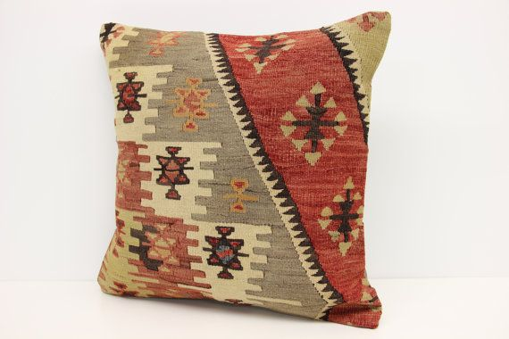 Traditional Kilim Pillow Cover 20 x 20  Striped by kilimwarehouse