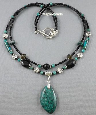 Green Chrysocolla Gemstone Pendant Black Onyx Beads Handmade Necklace